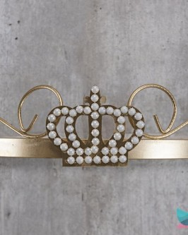 Dossél Dourado Arabesco Rococó com Coroa de Pérolas - Foto 1