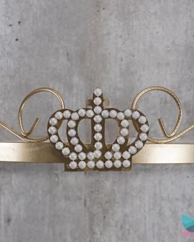 Detalhes do produto Dossél Dourado Arabesco Rococó com Coroa de Pérolas