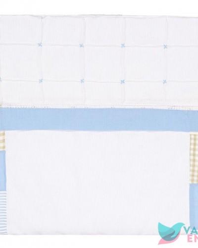 Detalhes do produto Capa de Carrinho Juninho Patchwork Azul e Bege