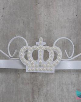 Dossél Branco Arabesco Rococó com Coroa de Pérolas