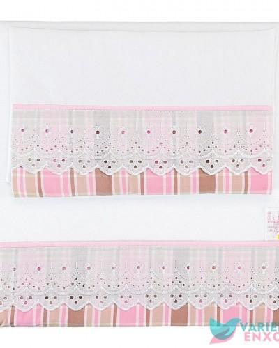 Detalhes do produto Colchonete para Carrinho Patchwork Marrom e Rosa