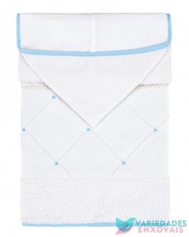 Toalha Forrada com Capuz Azul Bebê
