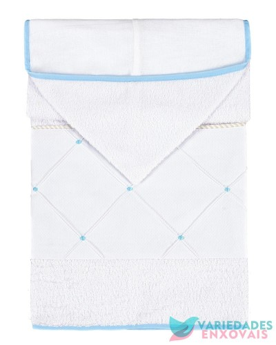 Detalhes do produto Toalha Forrada com Capuz Azul Bebê