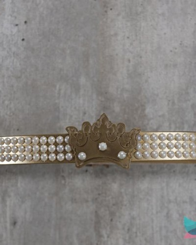 Detalhes do produto Dossél Dourado Pérolas e Coroa
