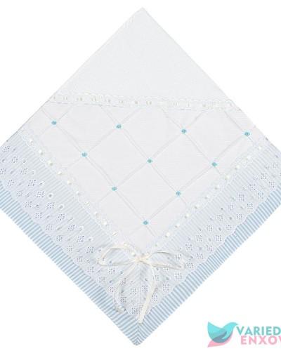 Detalhes do produto Manta de Malha Forrada Azul Listradinho