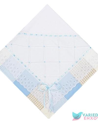 Detalhes do produto Manta de Malha Forrada Patchwork Azul e Bege