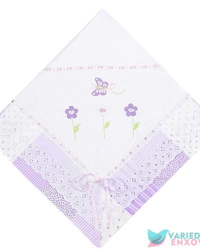 Detalhes do produto Manta de Malha Forrada Lilás Patchwork Borboletinhas