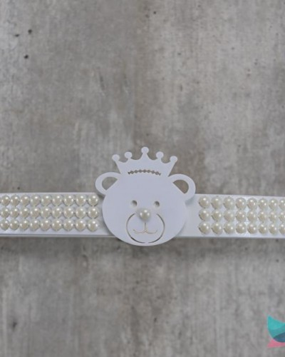 Detalhes do produto Dossél Branco Pérolas e Ursinho Realeza