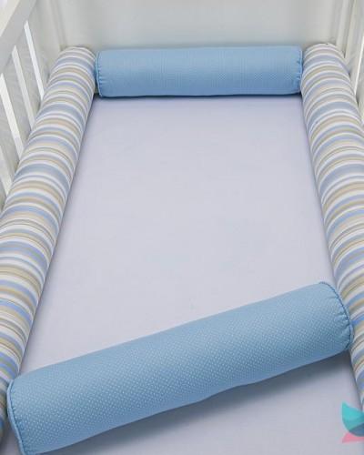 Detalhes do produto Kit Berço Rolinho 4 Peças Azul e Bege Listrado Poá