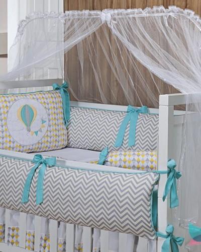 Detalhes do produto Kit Berço 8 Peças Balão Chevron Amarelo e Cinza Tiffany