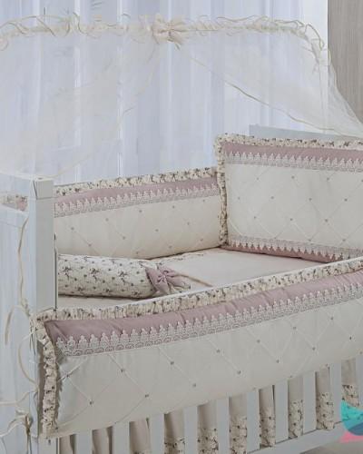 Detalhes do produto Kit Berço 8 Peças Guippir Floral Rosê e Marfim
