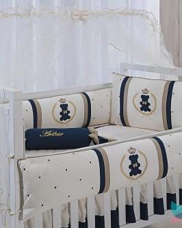 Kit Berço 8 Peças Azul Marinho e Dourado Urso Realeza - Foto 1