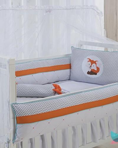 Detalhes do produto Kit Berço 8 Peças Raposinha Laranja e Chevron Cinza com Detalhes Tiffany