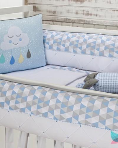 Detalhes do produto Kit Berço 8 Peças Nuvem Azul Bebê e Cinza Tecido Geométrico