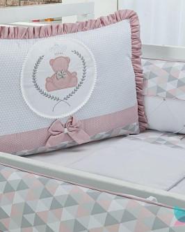 Kit Berço 8 Peças Ursinha Realeza Imperial Rosê e Cinza Tecido Geométrico - Foto 2