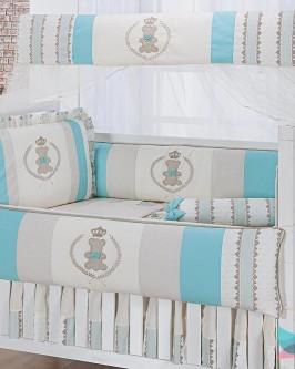 Kit Berço 8 Peças Ursinho Realeza Verde Tiffany e Marfim - Foto 1