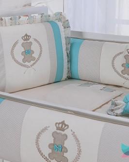 Kit Berço 8 Peças Ursinho Realeza Verde Tiffany e Marfim - Foto 2
