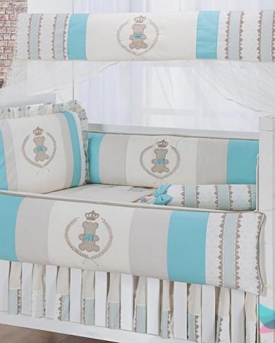 Detalhes do produto Kit Berço 8 Peças Ursinho Realeza Verde Tiffany e Marfim