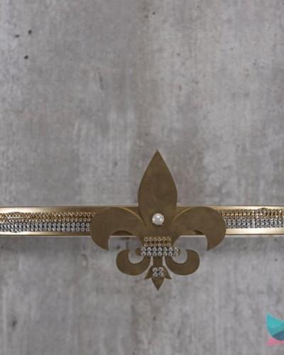 Detalhes do produto Dossél Dourado Flor de Liz com Strass