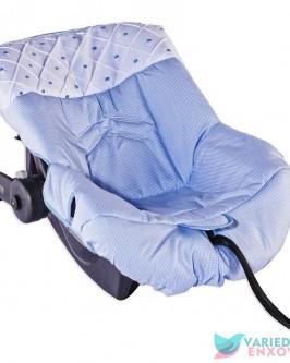 Capa de Bebê Conforto Boneco Azul Xadrezinho