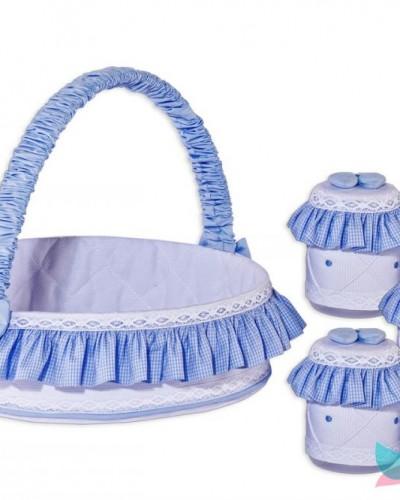 Detalhes do produto Cesta Decorada com Jogo de Potes Boneco Azul Xadrezinho