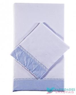 Colchonete para Carrinho Boneco Azul Xadrezinho