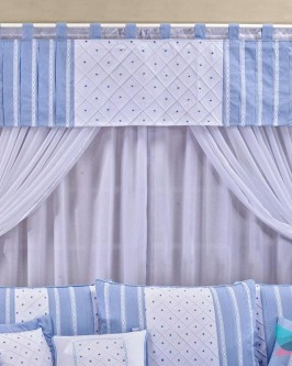 Cortina 2m x 1,70m Boneco Azul Xadrezinho