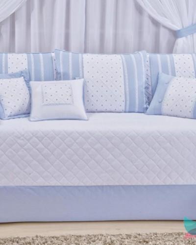 Detalhes do produto Kit Cama Babá 6 Peças Boneco Azul Xadrezinho