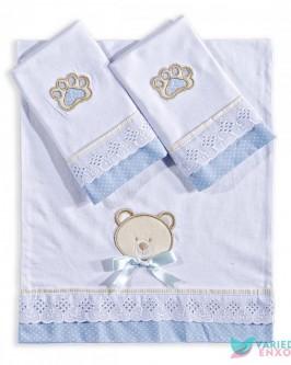 Jogo de Fraldas 3 Peças Urso Azul - Foto 1