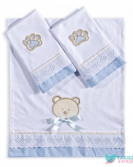 Jogo de Fraldas 3 Peças Urso Azul - Foto 2