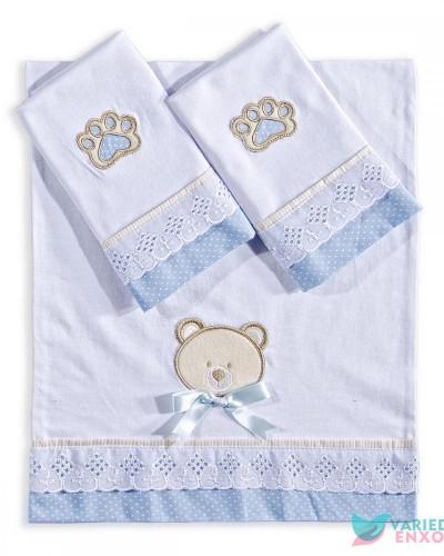 Detalhes do produto Jogo de Fraldas 3 Peças Urso Azul