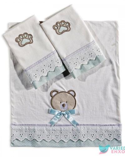 Detalhes do produto Jogo de Fraldas 3 Peças Urso Verde