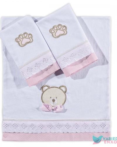 Detalhes do produto Jogo de Fraldas 3 Peças Urso Rosa