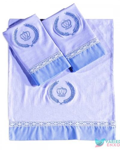 Detalhes do produto Jogo de Fraldas 3 Peças Boneco Azul Xadrezinho