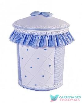 Lixeira Boneco Azul Xadrezinho
