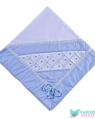 Detalhes do produto Manta de Malha Forrada Boneco Azul Xadrezinho