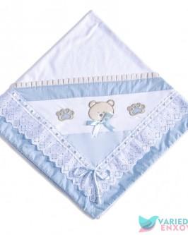 Manta de Malha Forrada Urso Azul