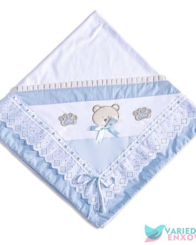 Detalhes do produto Manta de Malha Forrada Urso Azul