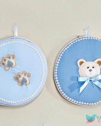 Detalhes do produto Enfeite de Porta Redondo Urso Azul
