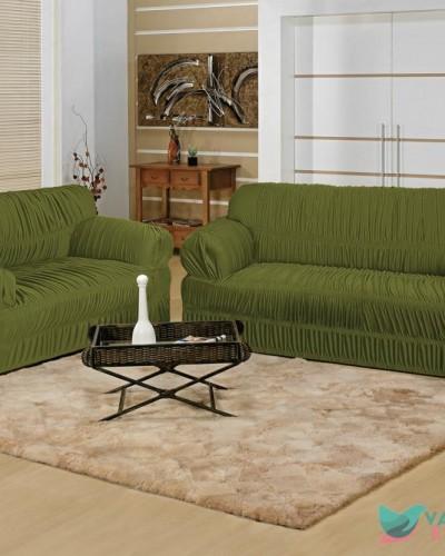 Detalhes do produto Capa para Sofá Elegance 2 Peças Verde