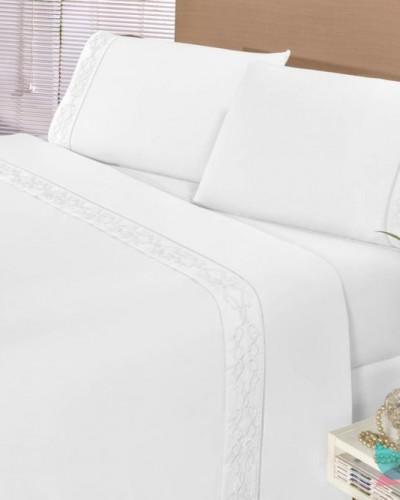 Detalhes do produto Jogo de Cama Diplomata Casal 4 Peças Branco