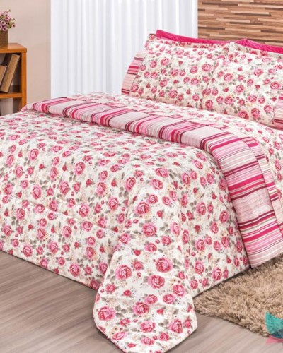 Detalhes do produto Kit Edredom Requinte 3 Peças Casal Pink
