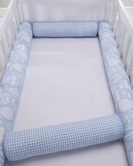 Kit Protetor para berço Rolinhos Balões Azul Bebê 04 Peças