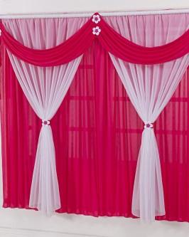 Cortina Para Quarto Infantil Pink e Branco Margaridinhas 2m - Foto 1