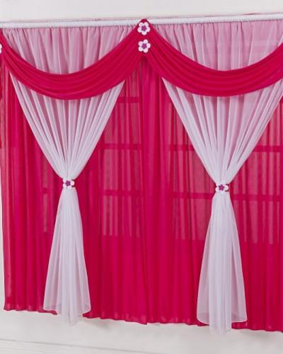 Detalhes do produto Cortina Para Quarto Infantil Pink e Branco Margaridinhas 2m