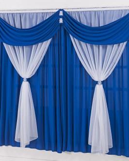 Cortina Para Quarto Infantil Azul Royal e branco Ursinhos 2m - Foto 1