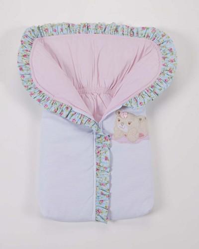 Detalhes do produto Porta Bebê 100% Algodão Ursinha Floral Azul e Rosa