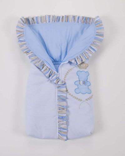 Detalhes do produto Porta Bebê 100% Algodão Ursinho Realeza Azul e Bege Listrado