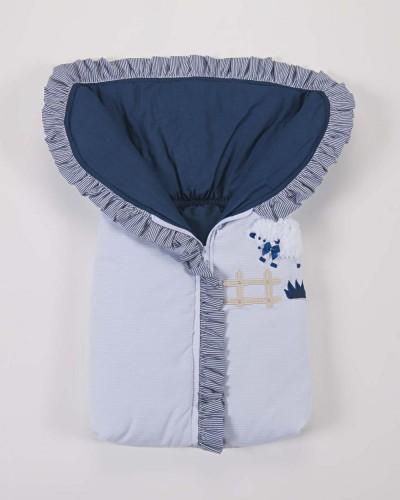 Detalhes do produto Porta Bebê 100% Algodão Azul Marinho e Branco Listrado Carneirinho