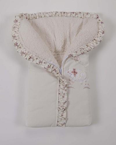 Detalhes do produto Porta Bebê 100% Algodão Pelo Lã Carneirinho Floral Rosê
